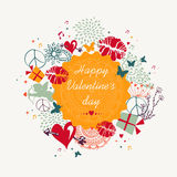 Happy Valentine`s day colorful circle label background Stock Images