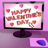 Happy Valentine's Day On Computer Screen Showing Online Greeting Stock Images