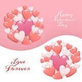 Happy valentine`s day concept. group of heart in red , pink and white color with text happy valentines day. Isolate on two shade background. creative vector stock illustration