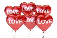 Happy Valentine`s day concept, inscription love on the red heart Royalty Free Stock Photo