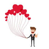 Happy valentine`s day concept of love. Businessman holding a lot of heart balloon with love hand sign. Falling in love. Cartoon Vector Illustration Stock Images