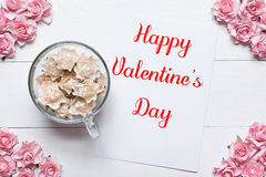 Happy Valentine's Day concept. Pink and white roses background. Happy Valentine's Day concept. White and pink roses background Royalty Free Stock Photography