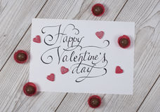 Happy Valentine`s day concept with praline Royalty Free Stock Images