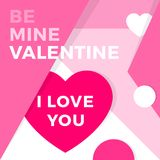 Happy valentine\'s day congratulations card in material design st. Yle pink paper hearts and love text Stock Photo