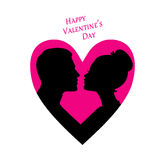 Happy Valentine's day, couple silhouette image Stock Image