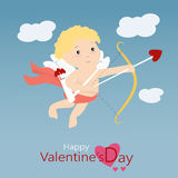 Happy Valentine's Day with cupid Stock Images