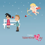 Happy Valentine's Day with cupid Stock Photography