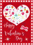 Happy Valentine`s Day cute poster, invitation, greeting card. Valentine`s Day Template for your design with space for stock illustration