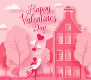 Happy Valentine`s day 3d abstract paper cut illustration of pink paper art landscape with paper cut couple, house,. Trees, flowers, grass ans sky. Vector design Stock Photos