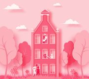 Happy Valentine`s day 3d abstract paper cut illustration of pink paper art landscape with paper cut couple, house,. Trees, flowers, grass ans sky. Vector design Stock Photography