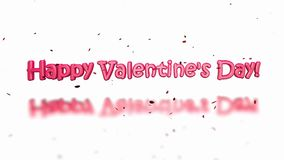 Happy Valentine`s Day. 3D Animation - Heart beating and text `Happy Valentine`s Day stock footage