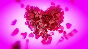 Happy Valentine`s Day. 3D animation. Video greetings to Valentine`s Day. Small hearts fall and create the shape of a large heart. Available in high-resolution stock video footage