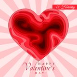 Happy Valentine`s Day. 3d paper cut heart concept design greeting card. Paper carving heart shapes with shadow. February 14. Vect. Or illustration vector illustration