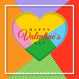 Happy Valentine`s Day. 3d paper cut heart concept design greeting card. Paper carving heart shapes with shadow. February 14. Vect. Or illustration royalty free illustration