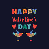 Happy Valentine`s day decoration. Fancy cartoon letterhead. Idea for banner to greeting card, festive party celebration background. Poster to celebrate holiday Royalty Free Stock Images