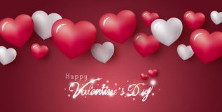 Happy Valentine`s Day design of hearts on red background royalty free stock image