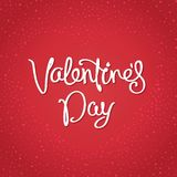 Happy Valentine`s Day design. Postcard for Valentine`s Day. Simple design with handwritten calligraphy on background Stock Image