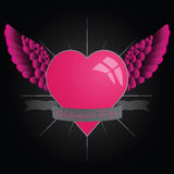 Happy Valentine`s day. Design with winged heart Royalty Free Stock Photography