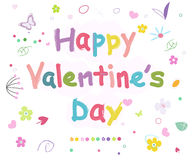 Happy Valentine's Day doodle colorful background Royalty Free Stock Photo