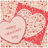 Happy Valentine`s day  - Doodles collection. Illustration card -  For valentines day Royalty Free Stock Photos