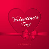 Happy Valentine`s day. Vector elegant poster with heart, bow and ribbon. Stock Image