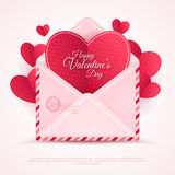 Happy Valentine's Day Envelope with Paper Hearts. Vector Illustration. Realistic Mail Envelope, Letter Happy Valentine's Day Inside. Can be used for Mother's stock illustration