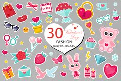 Free Happy Valentine`s Day Fashion Icons Set Or Stickers Patches 80s Comic Style. Pins, Badges Collection Cartoon Pop Art Stock Photography - 107455352