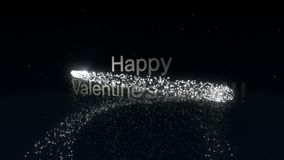 Happy Valentine`s Day. Festive abstract background with inscription and sparkling particles. Happy Valentine`s Day. Festive abstract background with inscription stock footage