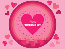 Happy Valentine`s Day. Festive background with gift boxes and hearts. Vector Stock Photo
