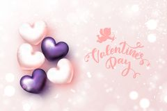 Happy Valentine`s Day Festive Card. Beautiful Background. With Realistic hearts. Vector Illustration Royalty Free Stock Image