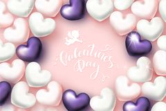 Happy Valentine`s Day Festive Card. Beautiful Background. With Realistic hearts. Vector Illustration Stock Photos