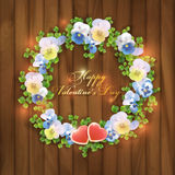 Happy Valentine's Day floral greeting card Royalty Free Stock Photos
