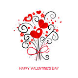 Happy Valentine's Day flower and hearts bouquet vector greeting card Stock Images