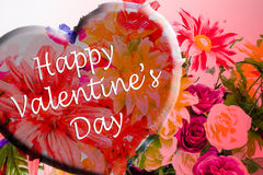 Happy valentine's day flowers with heart. Royalty Free Stock Photography