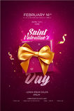 Happy Valentine`s Day flyer or poster. Top view on gift box and bow with beautiful backdrop. Vector illustration Royalty Free Stock Images