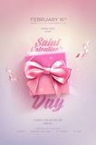 Happy Valentine`s Day flyer or poster. Top view on gift box and bow with beautiful backdrop. Vector illustration Stock Image