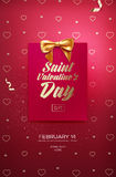 Happy Valentine`s Day flyer or poster. Top view on greeting card and bow with beautiful backdrop. Vector illustration Stock Photography
