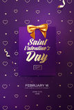 Happy Valentine`s Day flyer or poster. Top view on greeting card and bow with beautiful backdrop. Vector illustration Royalty Free Stock Images