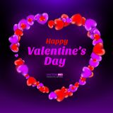Happy Valentine`s Day frame consisting of red and violet hearts on dark background stock illustration