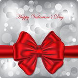 Happy Valentine's Day gift card. Bokeh background with red ribbon. Vector illustration stock illustration