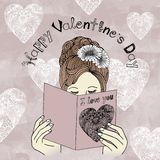 Happy Valentine's Day - girl reading Valentine's card Stock Photos