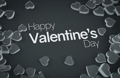 Happy Valentine`s Day Glass Love Candy 3D Rendering Dark Backgro Royalty Free Stock Photography