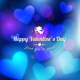 Happy Valentine's day glow holiday background. With shining soft hearts, blurred bokeh lights, photorealistic white bow and place for text. This vector royalty free illustration