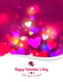 Happy Valentine's day glow holiday background. With shining soft hearts, blurred bokeh lights, photorealistic white bow and place for text. This vector stock illustration