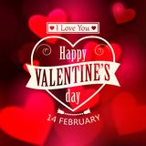 Happy Valentine's day glow holiday background. With shining soft hearts, blurred bokeh lights, photorealistic white bow and place for text. This vector vector illustration