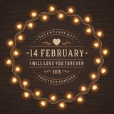 Happy Valentine's Day Glowing Decoration Light Bulbs Royalty Free Stock Photos