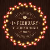 Happy Valentine's Day Glowing Decoration Light Bulbs Royalty Free Stock Photo