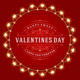 Happy Valentine's Day Glowing Decoration Light Bulbs Stock Photos