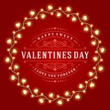 Happy Valentine's Day Glowing Decoration Light Royalty Free Stock Photos