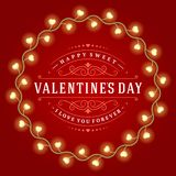 Happy Valentine's Day Glowing Decoration Light Stock Photo